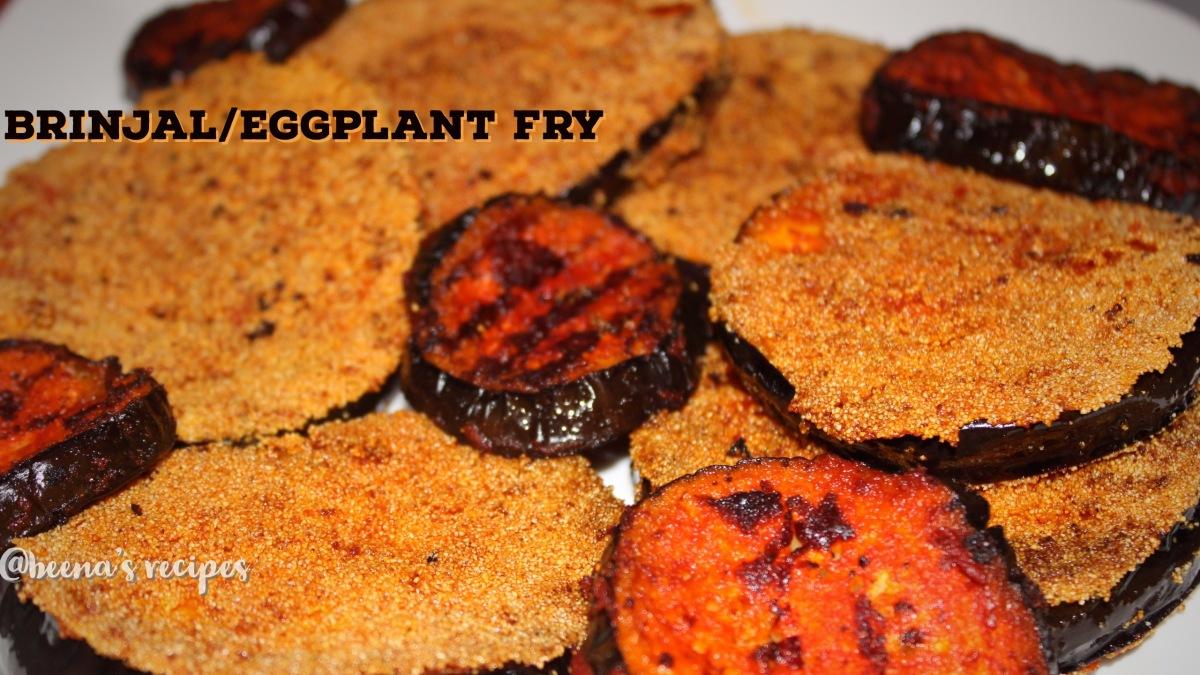 BRINJAL FRY/EGG PLANT FRY/KERALA STYLE BRINJAL FRY/BRINJAL RAVA FRY/EGGPLANT RAVAFRY